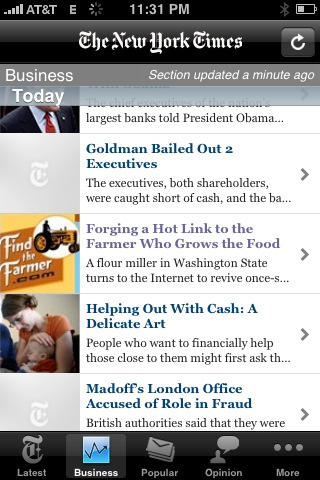 NYTimes on my iPhone